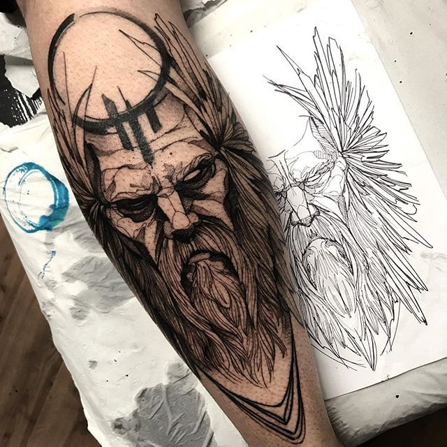 Instagram photo by fredao_oliveira - Odin ⚡️ Done at @inkonik_tattoo_studio #electricink
