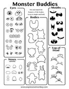 Draw a Monster Buddy with this free printable drawing sheet from www.ExpressiveMonkey.com  Use it to design a stuffed friend or other art project.