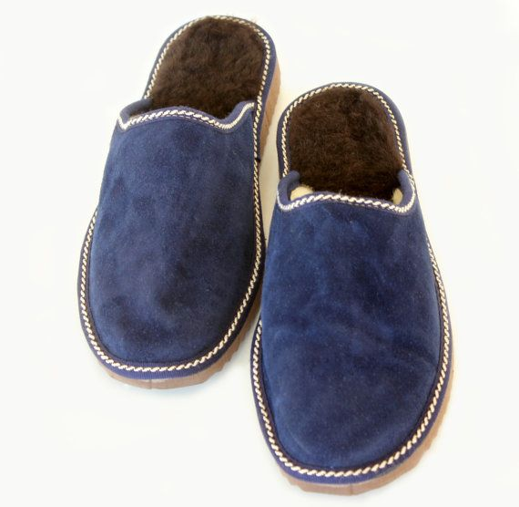 The Cozy Walking. Handmade Blue leather slippers made with sheep skin (mouton) leather and really soft fur