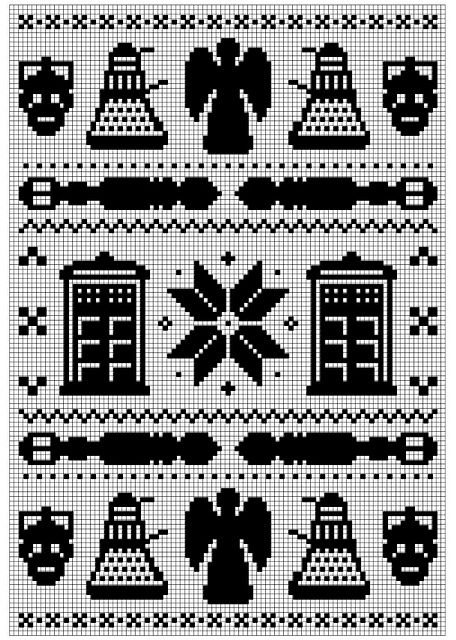 Doctor Who knitting chart  http://www.ravelry.com/patterns/library/doctor-who-fair-isle#