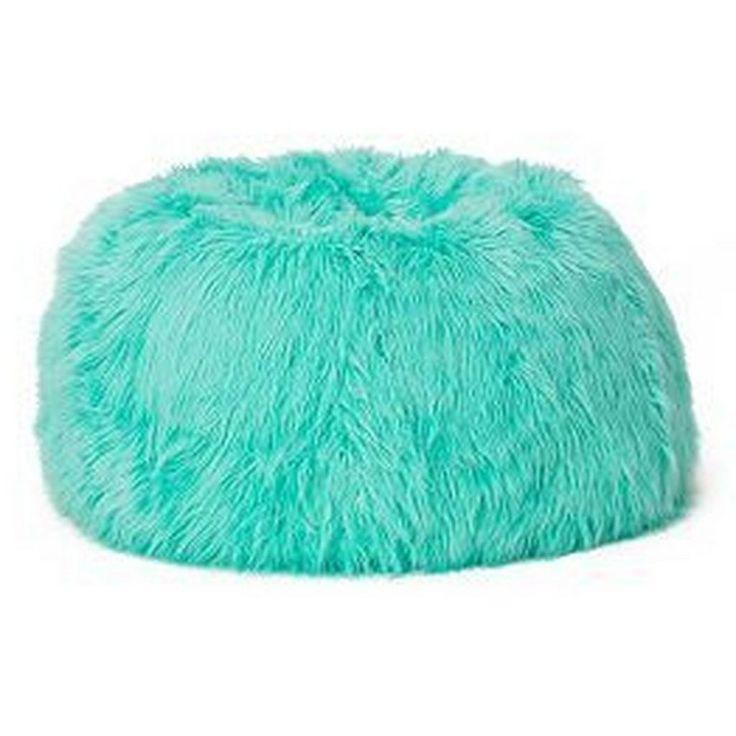 teal fluffy bean bag chair