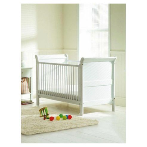 Affordable cot bed from Tesco. Not as clunky as other sleigh bed designs and headboard/ footboard can be adjusted for better proportions when in bed form. Downside is that the mattress base only has two positions, and I've heard bad things about drop-down cots.