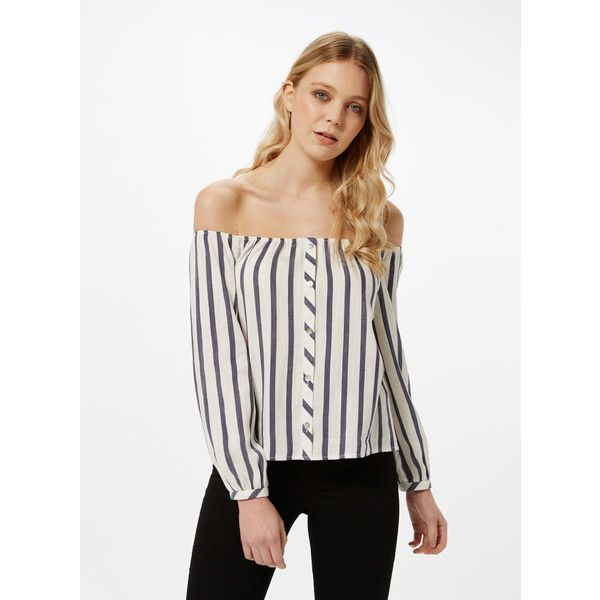 Miss Selfridge Petites Stripe Bardot Top ($57) ❤ liked on Polyvore featuring tops, petite, white, miss selfridge, petite long sleeve tops, petite tops, white top and stripe top