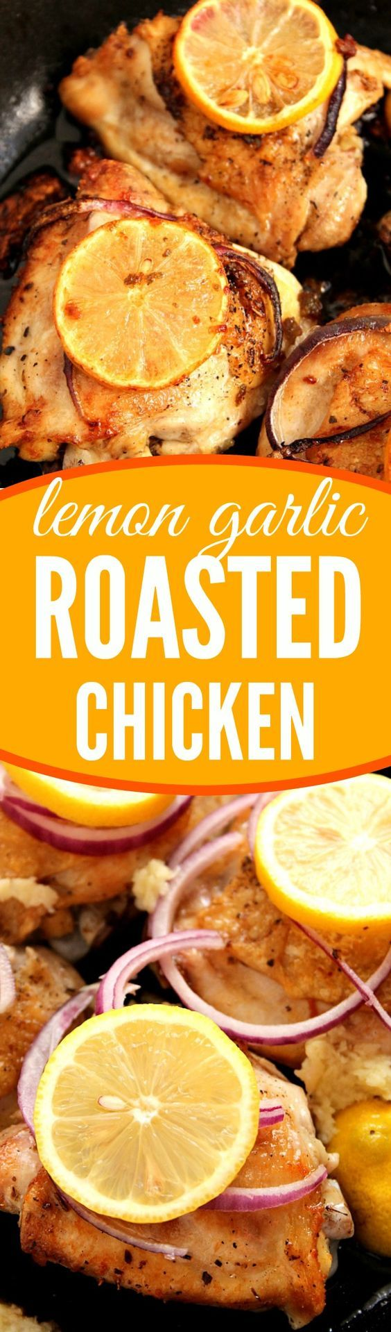 Lemon Garlic Roasted Chicken recipe - mouth-watering chicken thighs roasted with garlic and lemons. Ridiculously easy to make and pure comfort food. This is inexpensive dinner, perfect for a busy weeknight or a weekend!