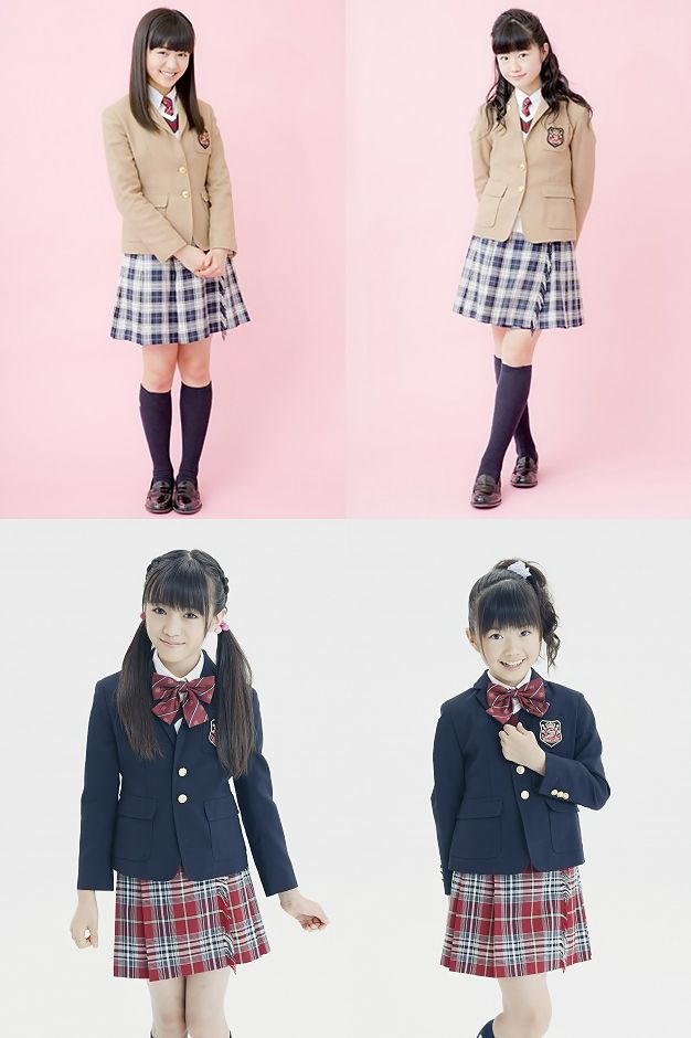 MoaYui in Sakura Gakuin uniforms in Elementary School (down) and Jr High (up)