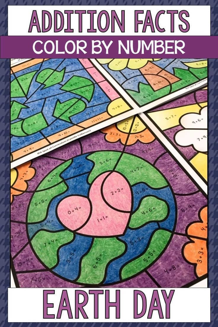 Earth Day Coloring Pages Addition Color By Number Earth Day Coloring Pages Math Fact Practice Spring Math Games [ 1104 x 736 Pixel ]