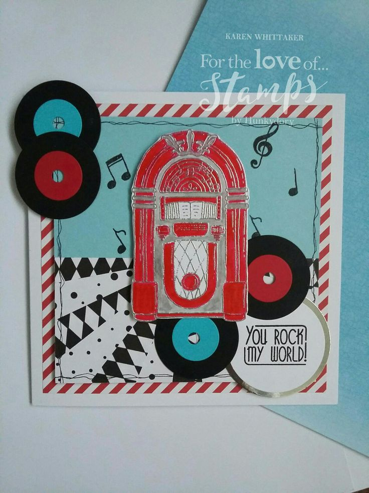 For The Love of Stamps Rock n Roll Jukebox stamp set #fortheloveofstamps #hunkydorycrafts #rocknroll #jukebox #dtsample #kuretake #heatembossing #retro #stamping #stamps #cardmaking #handmade
