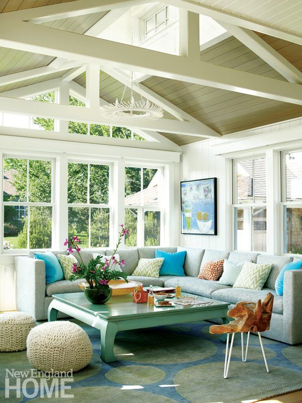 cozy and colorful sunroom