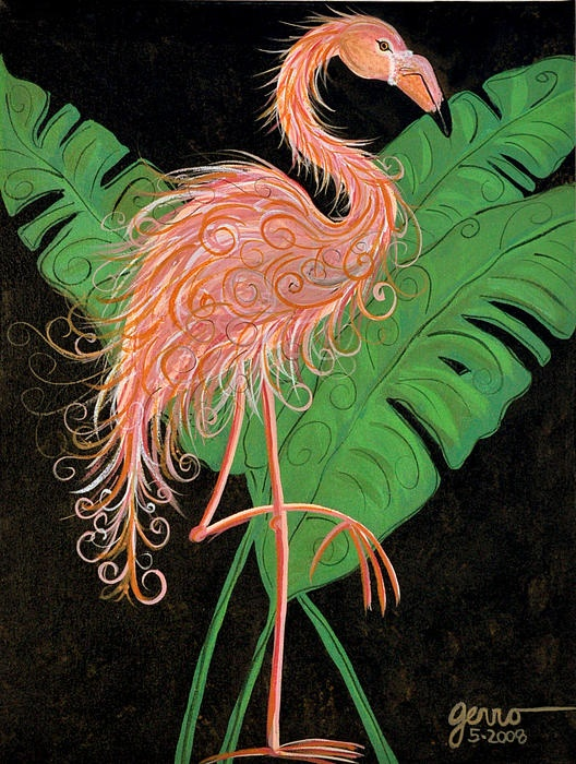 What a coincidence: my hair does that when wet, as well... Flamingo art deco  Painting  - Flamingo art deco  Fine Art Print