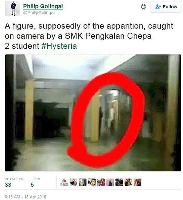 O jornalista malaio Philip Golingai tuitou esta imagem que teria sido feita por um estudante na escola fechada  (Foto: Reprodução/Twitter)