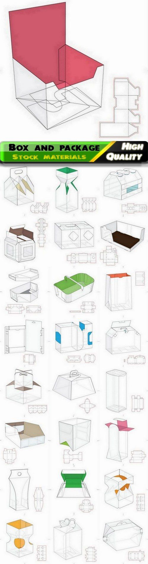 Layout of box and package with drawing line for cutting - 25 Eps