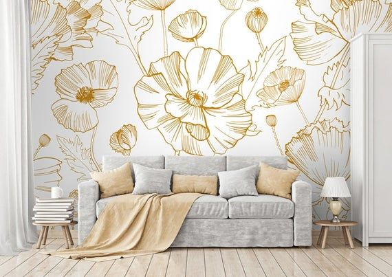 Yellow Poppy Flowers Wallpaper Self Adhesive Wallpaper Wall Etsy In 2021 Removable Wallpaper Wall Wallpaper Classic Wallpaper