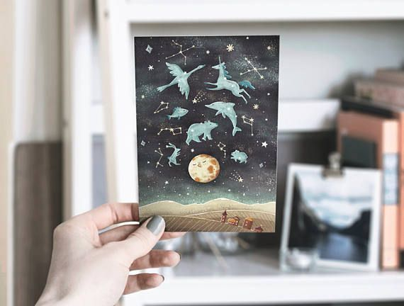 Space postcards and kraft envelopes Solar system Astronaut