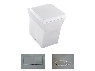 Reve Wall Faced Toilet with Bevel flush panel  Features:    Bevel flush button panel (oval version option available)  In wall cistern - with support brackets  Dual flush (4.5/3L)  Back up shut-off valve located on cistern and accessible through the flush button panel  P-trap set out: 185mm  S-Trap set out (with vario pan connector: 90mm - 100mm)  Open rim