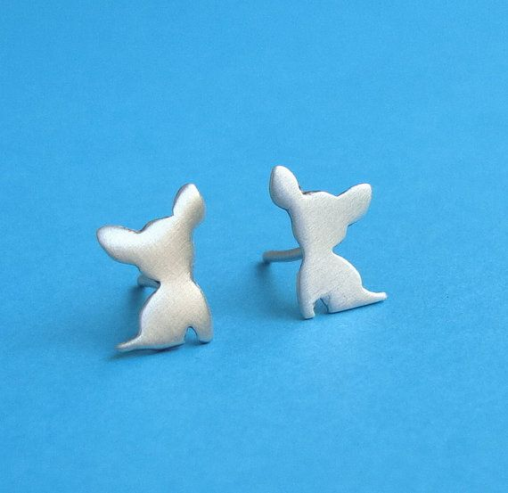Tiny sterling silver Chihuahua Earrings Dog Studs by zoozjewelry