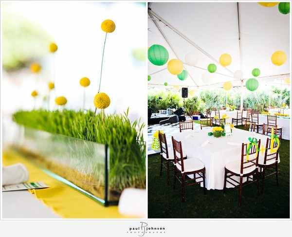 Wedding yellow and green: Yellow Flowers, Billy Ball, Colors Schemes, Green Parties, Wedding Yellow, Centerpieces, Green Lanterns, Yellow Brick Roads, Green Wedding
