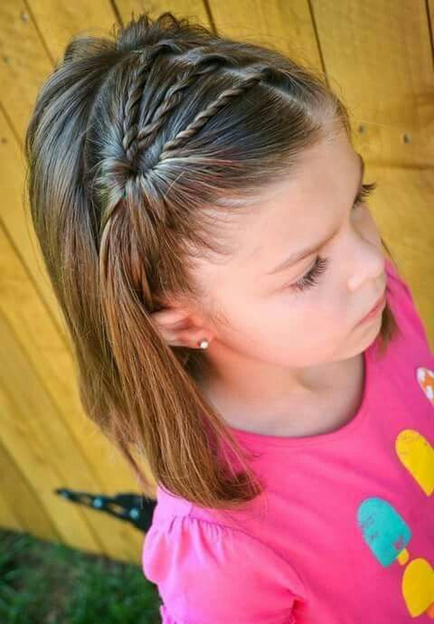 A waterfall side pony with a twist- such a cute short hairstyle for a little girl