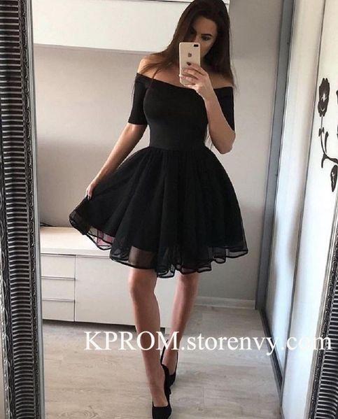 Sexy Black Short Homecoming Dress,Off the Shoulder Graduation Dress Cheap – #Bla…