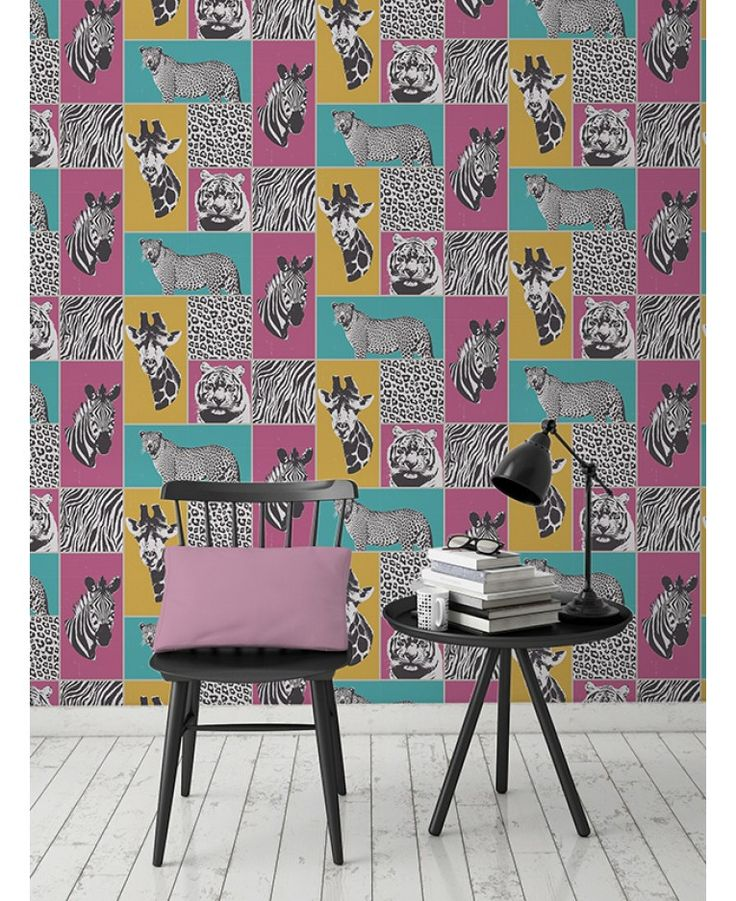 This fantastic Safari Animals wallpaper features a fun collage style design. Monochrome leopards, tigers, zebras and giraffes with a subtle metallic sheen are set on colourful matte teal, pink and yellow backgrounds, interspersed with shimmering animal print squares.