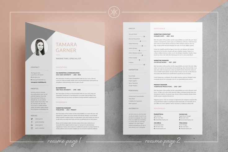 Resume/CV | 3 Page design | Cover letter | Templates | Word | Photoshop | inDesign Tamara by Keke Resume Boutique on @creativemarket