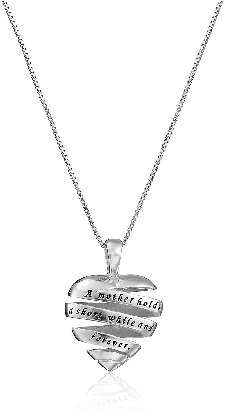 Sterling Silver 'A Mother Holds Her Childs Hand ... and Their Hearts Forever' Heart Pendant Necklace, 18' >>> Find out more about the great product at the image link. (This is an Amazon Affiliate link and I receive a commission for the sales)