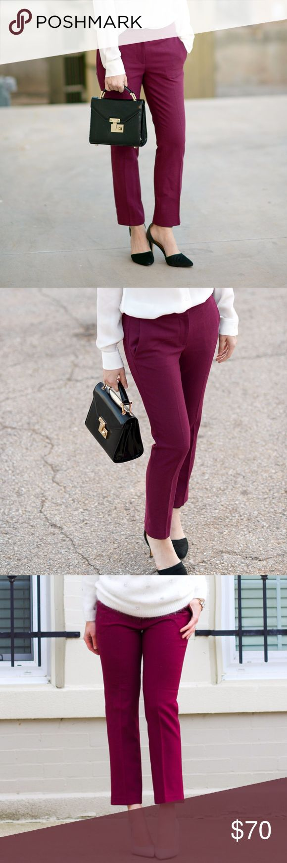 """J.CREW Campbell Capri Pant Bi-Stretch Wool Wine J.CREW Campbell Capri Pant in Bi-Stretch Wool Pinot Wine Sz 6  Original retail: $118  Description: The """"where'd you get that pant"""" pant—it has the perfect amount of stretch, a little kick at the hem and looks good on just about everyone. Expect compliments from friends, coworkers and probably complete strangers.  Wool/viscose/poly/elastane. Dry clean. Import. Item B0703. Sits just above hip. Fitted through hip and thigh, with a straight…"""