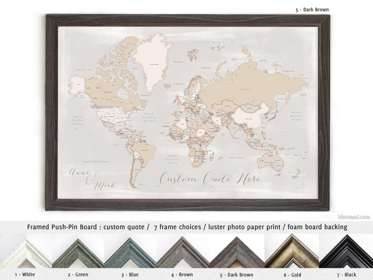 Elite framed push pin board featuring your custom quote: rustic world map with countries and states. Color combination: Lucille #AnniversaryGiftIdea #FramedPushPinBoard #CustomDesignedPrint #distressed #CorkBoardBacking #FoamCoreBoard #FramedCorkboard #HandmadeFramedPushPinBoard #cream #AnniversaryGift