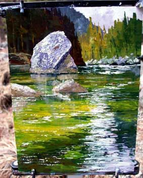 water reflection, acrylic lesson, art demo