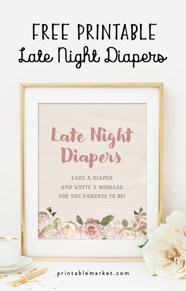 photo regarding Late Night Diapers Printable known as No cost Common Floral Kid Shower Late Night time Diapers Printable