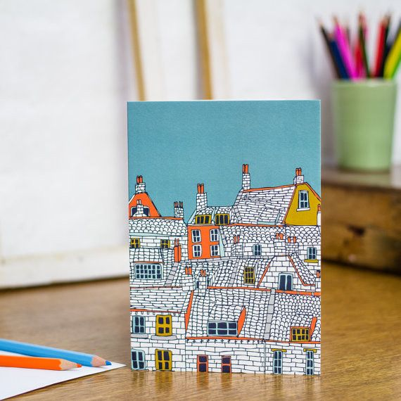 Over the Rooftops Greeting Card - Printed in the UK