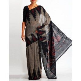 'Grey color pure handloom Pochampally cotton saree without blouse.This plain cotton sari has got black, maroon ikkat tie