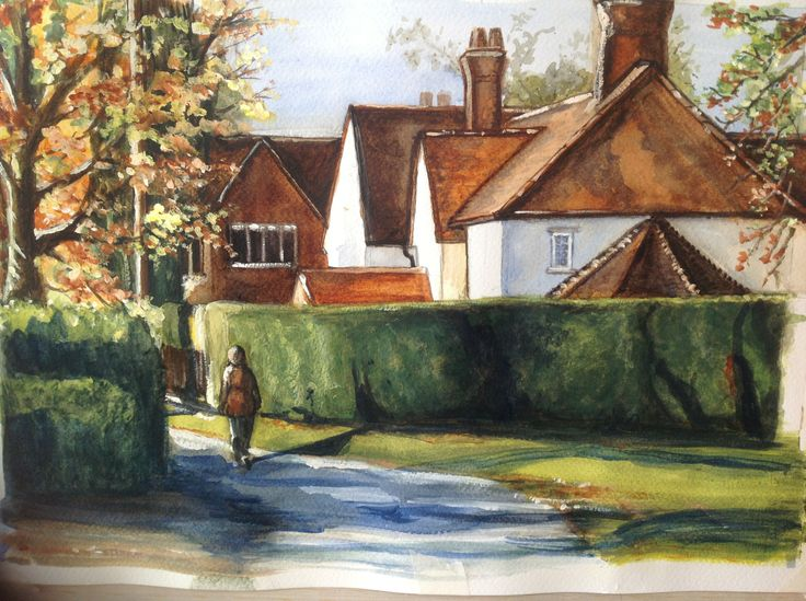 Fryening, Essex. 2012 Watercolour study using only 3 colours: Ultramarine blue, Burnt Sienna and Lemon yellow.