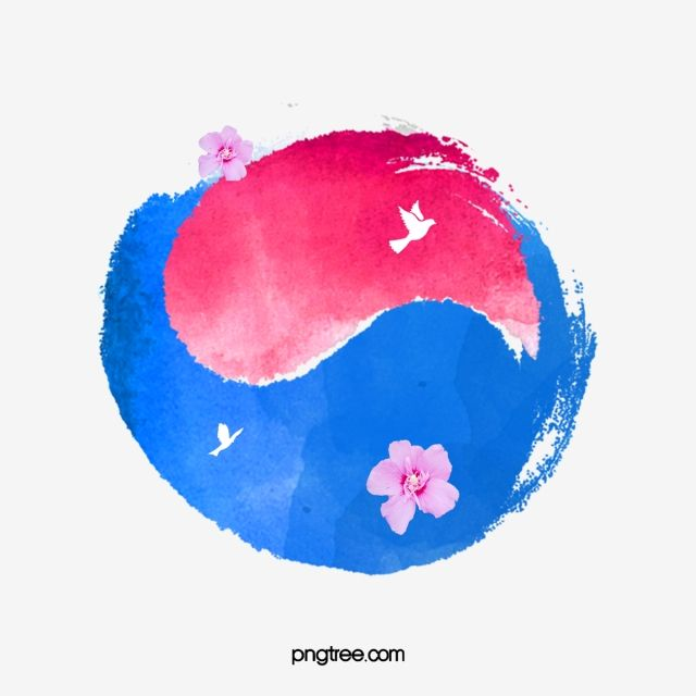 Simple Watercolor Taiji Korean Flag Elements Tai Chi Taegukgi Painted Png Transparent Clipart Image And Psd File For Free Download Easy Watercolor Korean Flag Flag Art