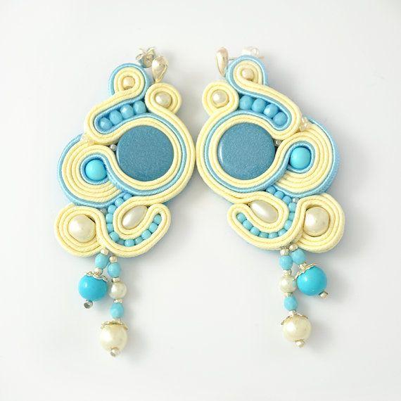 Vaniglia blu post soutache orecchini porta lucido da sposa damigella d'onore…