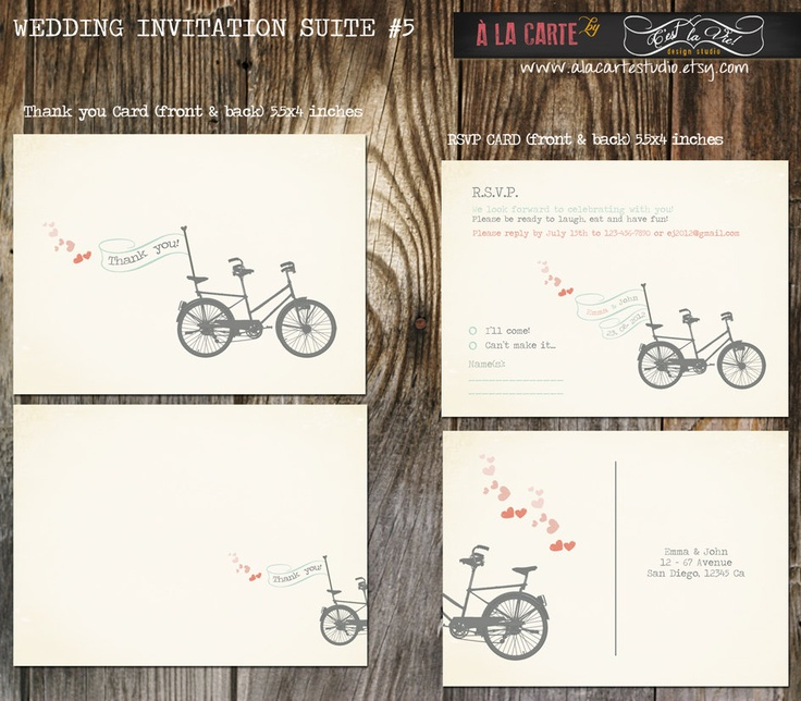 15 best wedding invitations images on pinterest bicycle wedding tandem bike wedding invitation suite invitation and rsvp deposit payment filmwisefo