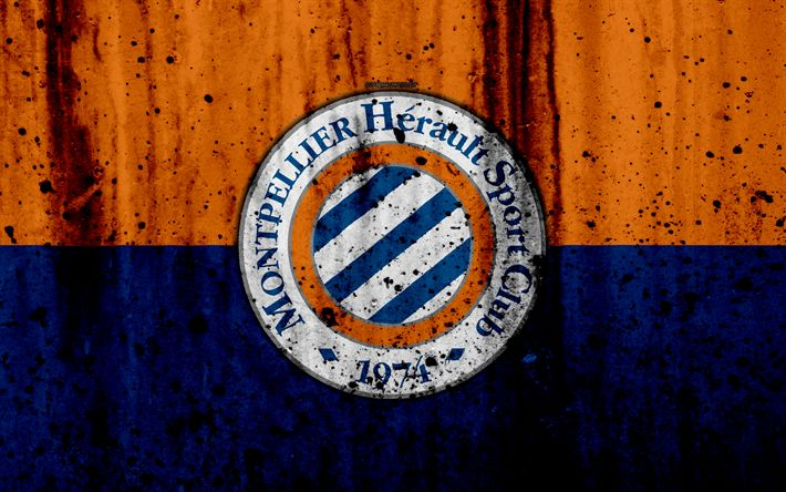 Download wallpapers FC Montpellier, 4k, logo, Ligue 1, stone texture, Montpellier, grunge, soccer, football club, metal texture, Liga 1, Montpellier FC