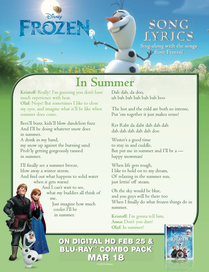 "Sing Olaf's ""In Summer"" with this lyric sheet."