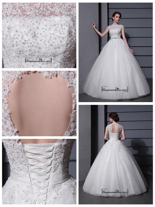 Amazing Tulle&Satin Ball gown Illusion High Natural Waistline Wedding Dress