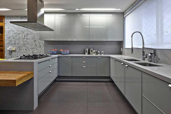 Resultado de imagem para cozinha lacada cinza alto brilho