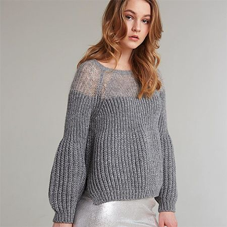 laine dentellée wool and lace pullover tricot knit grey gris / at spletnik.com