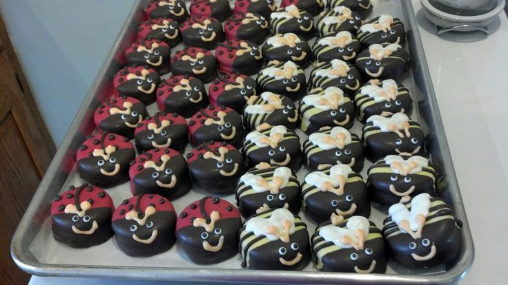 Could these be any cuter?! Chocolate Covered Oreos that look like Ladybugs and Bumblebees - made by Colleen Lavorgna!