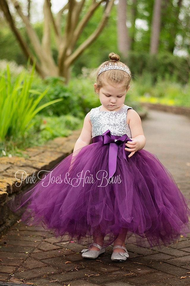 62abc7d8e8f Flower girl dress-birthday dress-plum flower girl dress-silver sequin dress-fall  flower girl dress in 2019