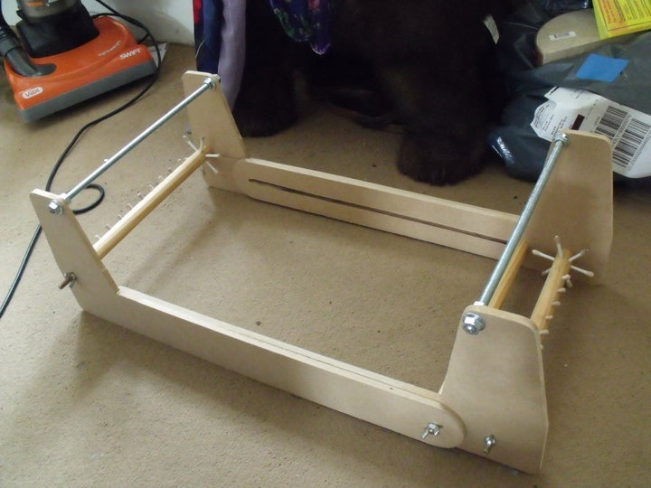 bead loom made from dowel and MDF