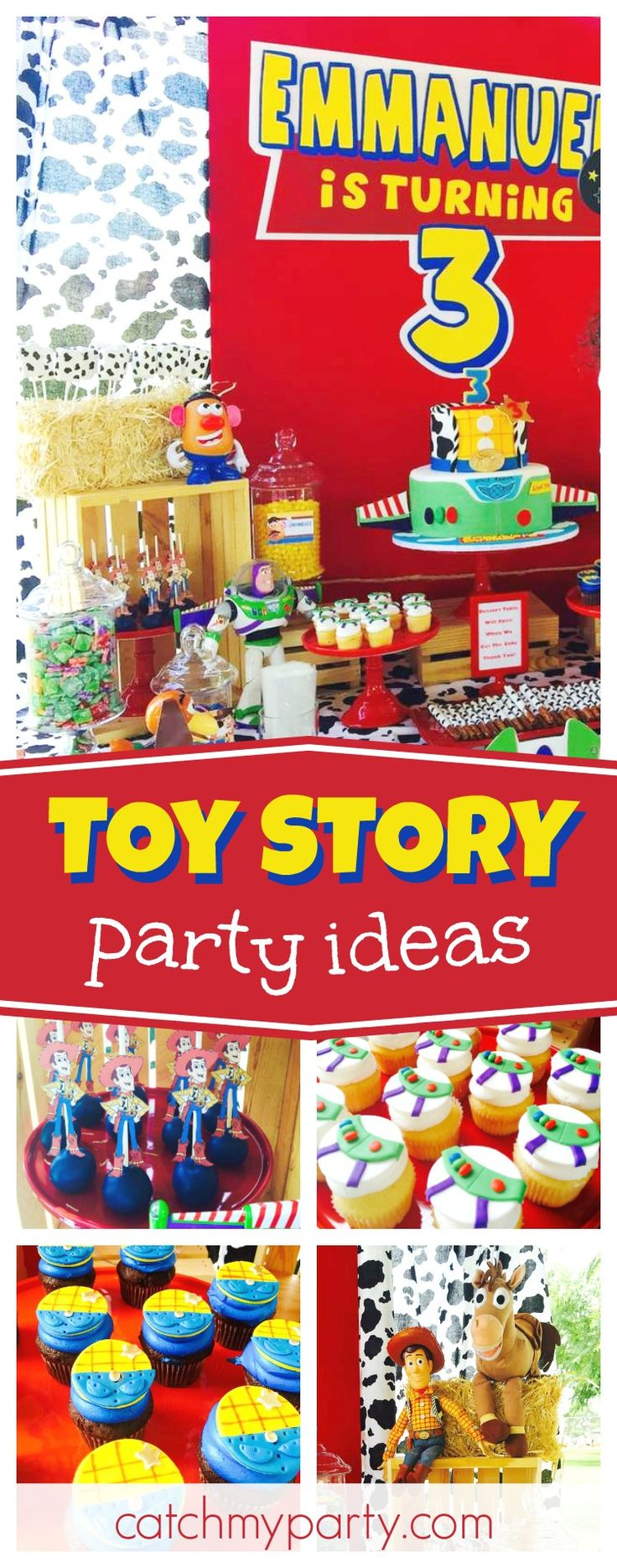 Check out this awesome Toy Story birthday party. The Woody and Buzz cupcakes are so much fun!! See more party ideas and share yours at CatchMyParty.com