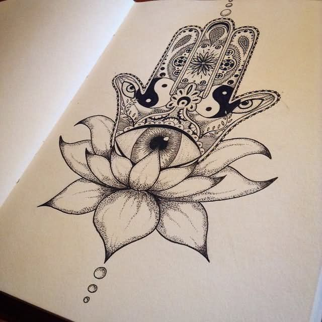 Dotwork Lotus Flower With Hamsa Tattoo Design