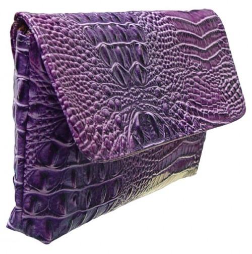 Purple Alligator Clutch Purse by Vecceli
