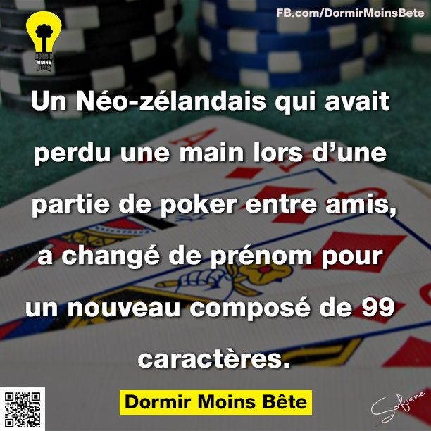 Un Néo-Zélandais qui avait perdu une main lors d'une partie de poker entre amis, a changé de prénom pour un nouveau composé de 99 caractères.