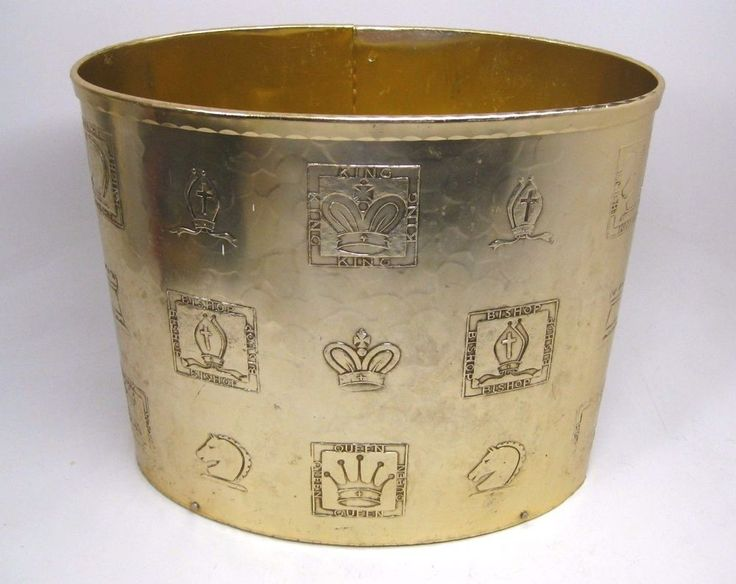 "For sale is a very rare stunning Arthur Armour gold anodized waste basket. We believe this is from the 1960s. Beautiful hammered gold metal with Chess Pieces hammered onto the front side. The inside is stamped ""ARTHUR ARMOUR"", with their logo emblem. 