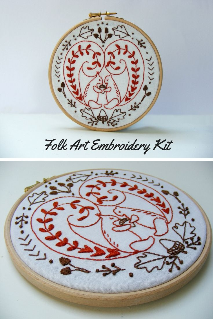 Folk Art Embroidery Kit Modern Scandinavian Squirrel Embroidery Pattern Ad Crafts Embroidery Embroideryde Embroidery Kits Embroidery Patterns Embroidery