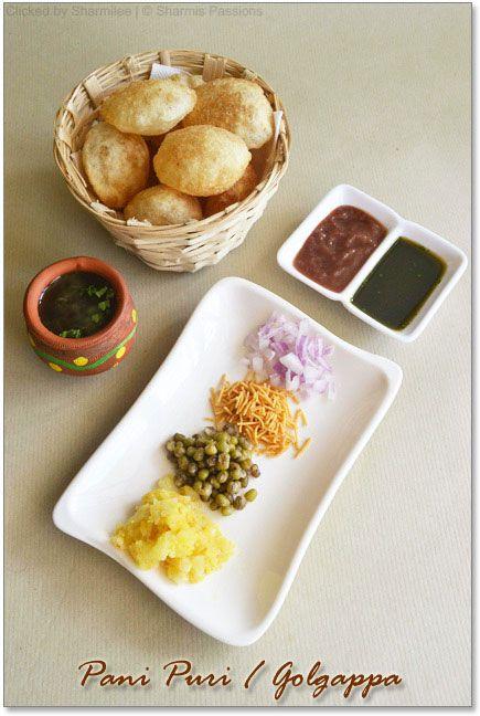 Pani Puri Recipe : http://www.sharmispassions.com/2011/11/pani-puri-recipe-how-to-make-pani-puri.html